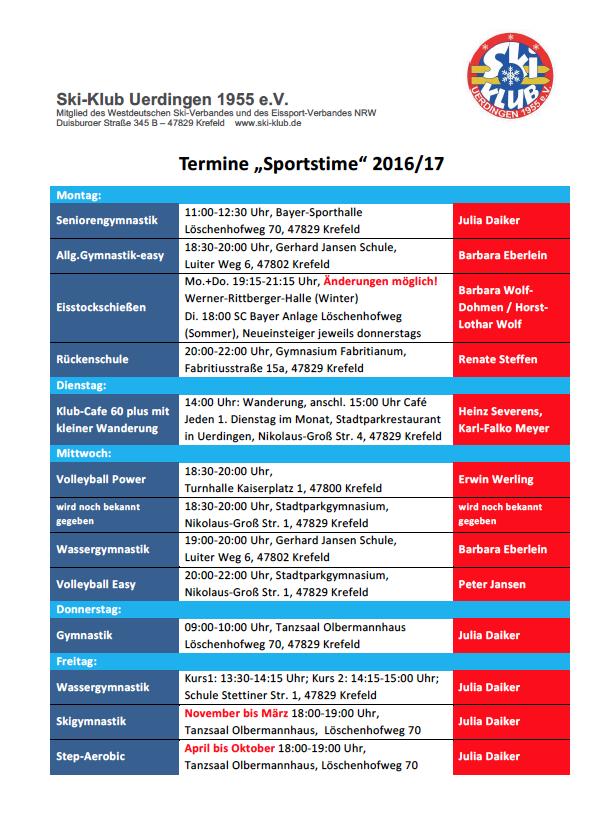 Sportkurse - Sportstime 2016/17