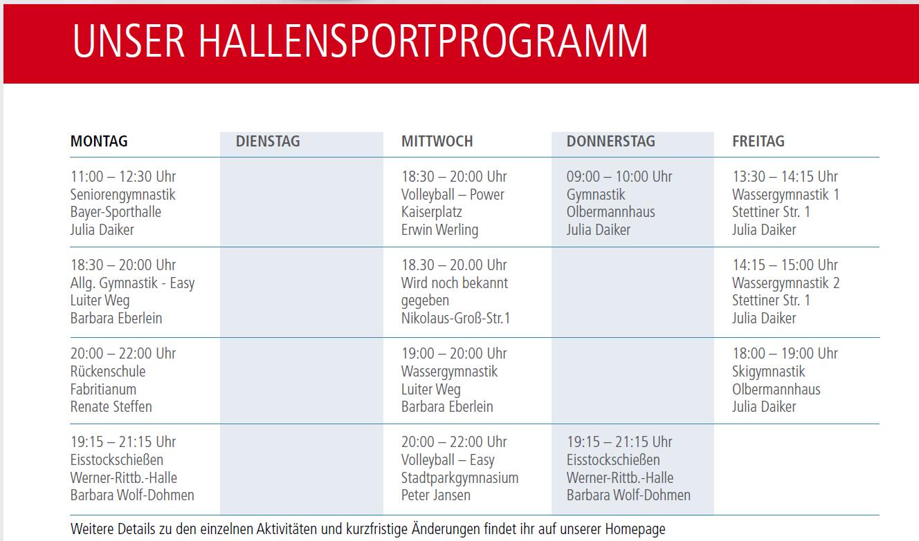 Sportkurse Sportstime 2018/19